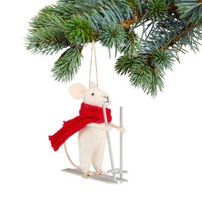 Deko - Maus auf Skiern Christbaumschmuck