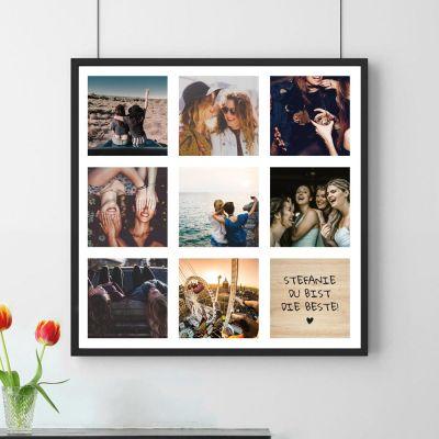 Geburtstagsgeschenk für Mama - Personalisierbares Foto-Poster mit 8 Bildern und Text