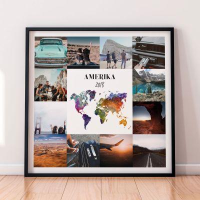 Geschenk zum Einzug - Personalisierbares Reise-Poster mit 12 Bildern