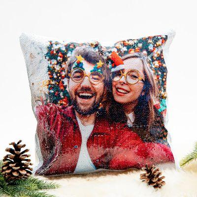 Geschenkefinder - Personalisierbarer Pailletten Kissenbezug mit verstecktem Foto