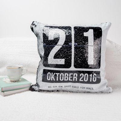 Deko - Personalisierbarer Pailletten Kissenbezug mit Datum