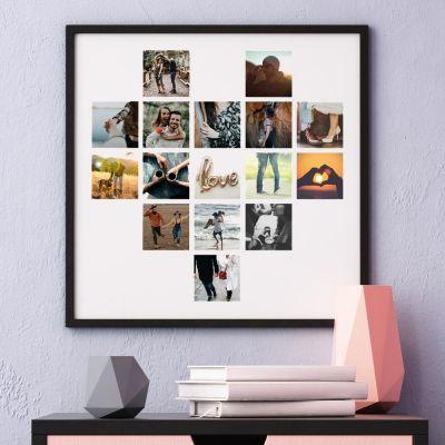 Hochzeitstag Geschenk - Personalisierbares Poster in Herz-Form mit Fotos
