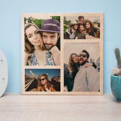 Geschenk zum Einzug - Personalisierbares Foto Holzbild mit 4 Bildern