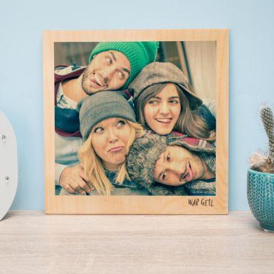 Geburtstagsgeschenke für Papa - Personalisierbares Holzbild im Polaroid-Look