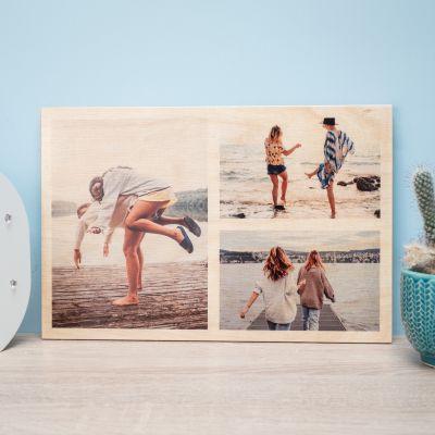 Personalisierte Geschenke - Personalisierbares Foto Holzbild mit 3 Bildern