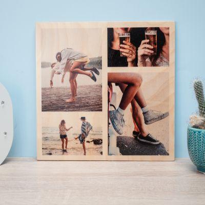 Weihnachtsgeschenke für Frauen - Personalisierbares Foto Holzbild mit 4 Bildern