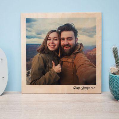 Hochzeitstag Geschenk - Personalisierbares Holzbild im Polaroid-Look