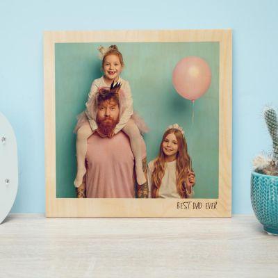 Abschiedsgeschenk - Personalisierbares Holzbild im Polaroid-Look