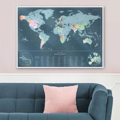 Deko - Irisierende Rubbel-Weltkarte
