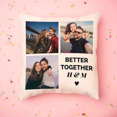 Geschenke für Schwester - Personalisierbarer Kissenbezug mit 3 Bildern und Text