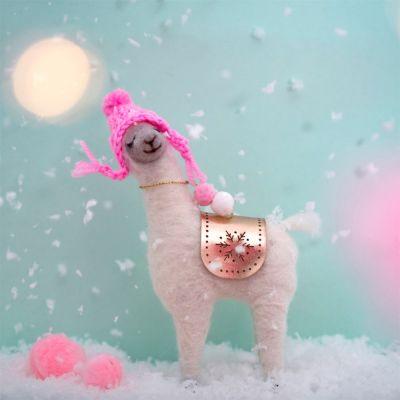 Weihnachtsdeko - Fa La La Lama mit rosa Mütze