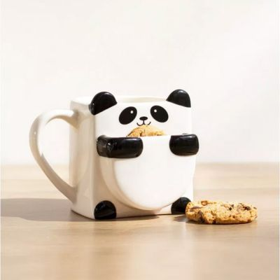 Weihnachtsgeschenke für Kinder - Panda Tasse mit Keks-Fach