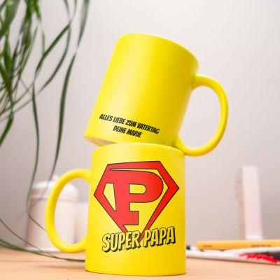Geburtstagsgeschenke für Papa - Personalisierbare Neon Tasse Super Papa