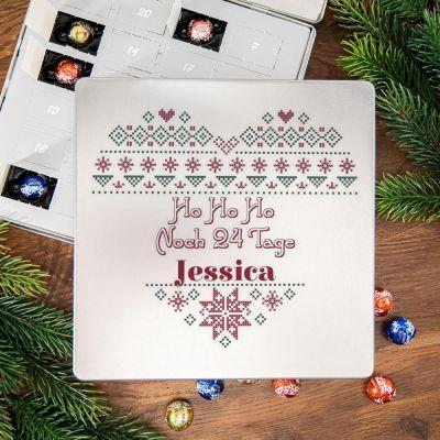 Personalisierte Süßigkeiten - Adventskalender - Pralinen Metallbox mit Herz