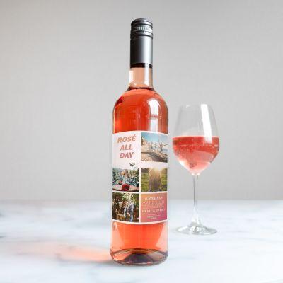 Alkohol - Personalisierbarer Wein mit 4 Bildern und Text