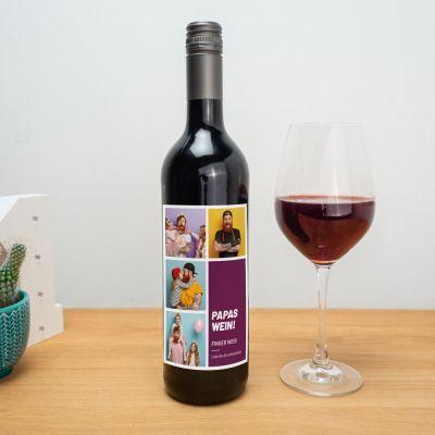 Weihnachtsgeschenke für Papa - Personalisierbarer Wein mit Bildern und Text