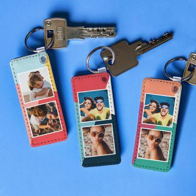 Weihnachtsgeschenke für Eltern - Personalisierbarer Schlüsselanhänger mit 2 Bildern