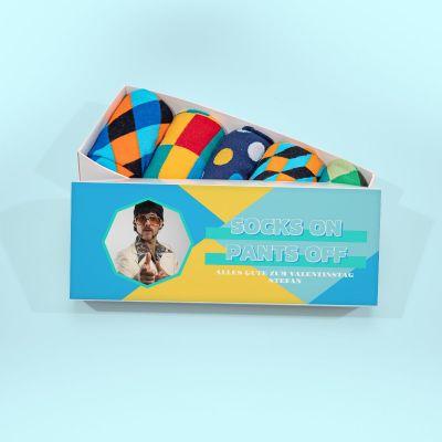 Valentinstag Geschenke - Sockenbox mit Bild und Text
