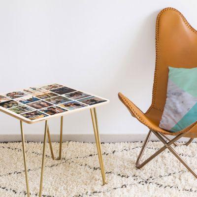 Neu bei uns - Personalisierbarer Holz-Tisch mit 16 Bildern