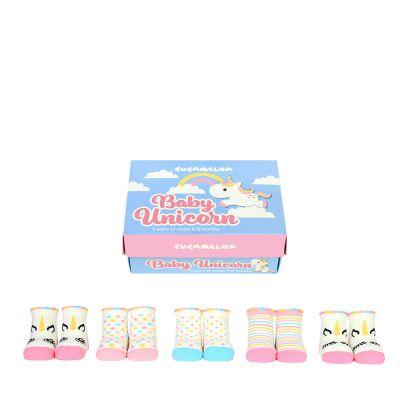 Geschenke zur Geburt - Einhorn Baby-Socken 5er-Set