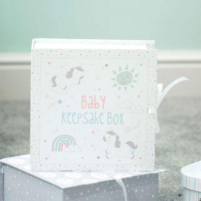 Geschenke zur Geburt - Einhorn Erinnerungsbox fürs Baby