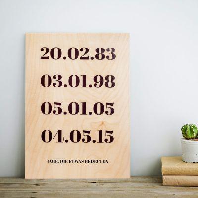 Hochzeitstag Geschenk - Personalisierbares Holzbild - Wichtige Daten