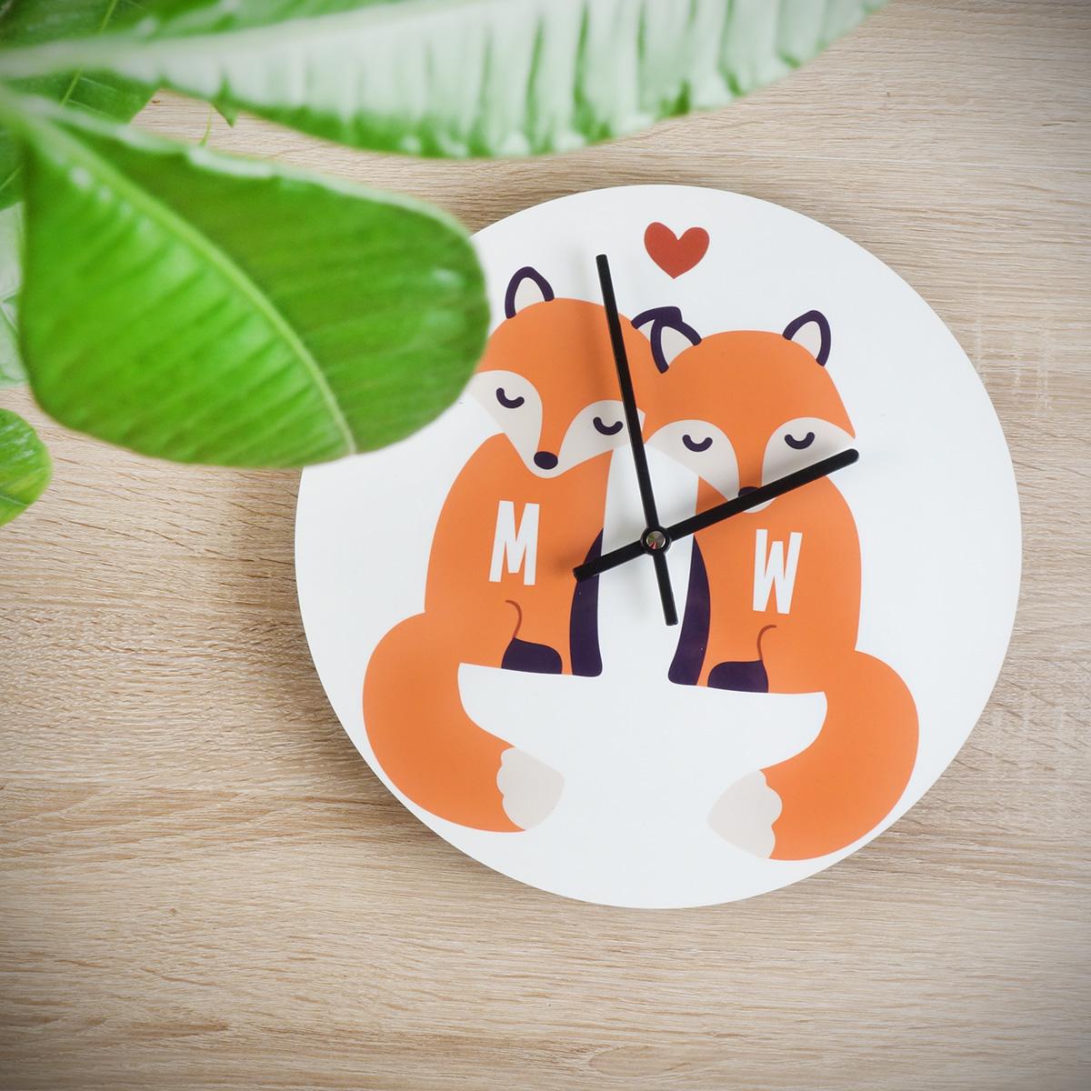 Personalisierbare Fuchs Wanduhr für Paare