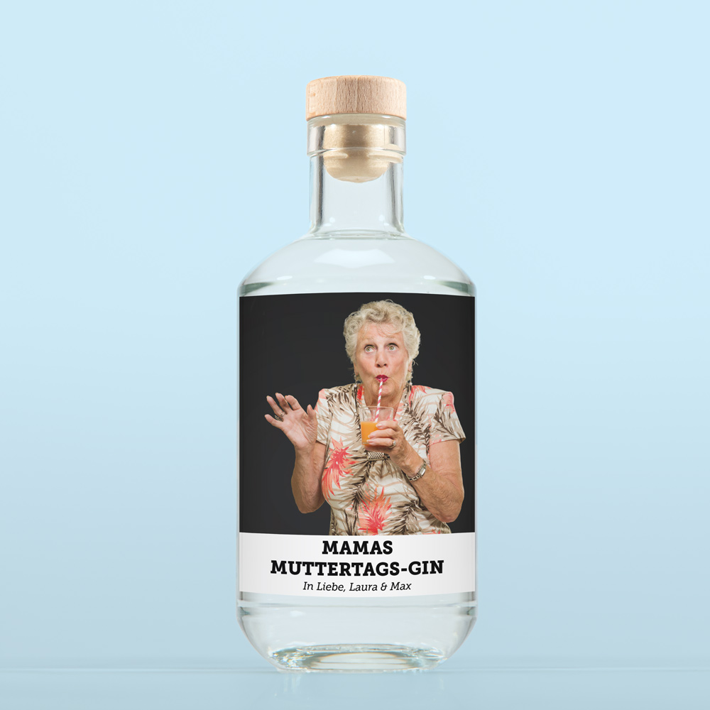 muttertagsgeschenke personalisierter gin mit foto